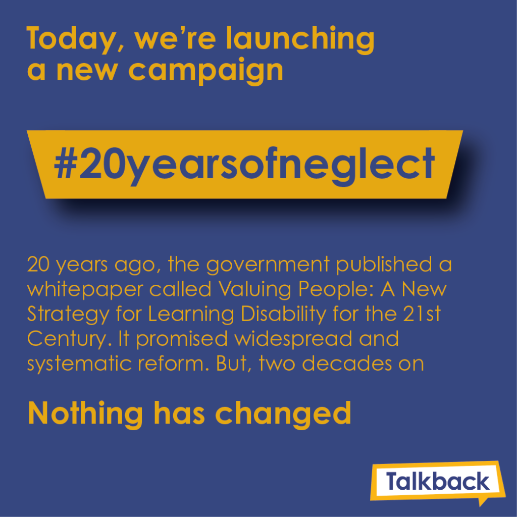 An image of our #20yearsofneglect campaign
